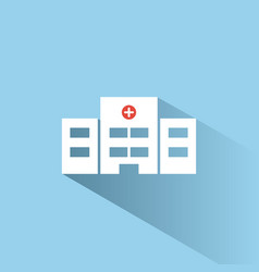 Hospital color icon with shadow on a blue vector