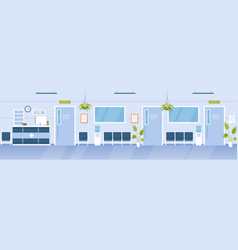 Hospital reception hall clinic interior cartoon vector