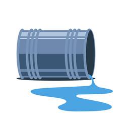 Iron barrel fell spill water on ground vector