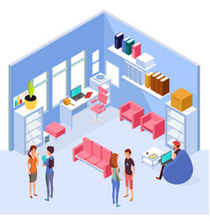 Isometric home office interior 3d workspace vector