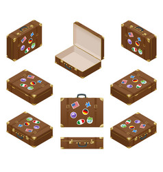 Isometric set of travel suitcases with stickers vector