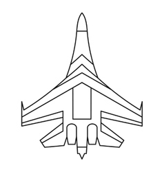 Jet fighter plane icon outline style vector