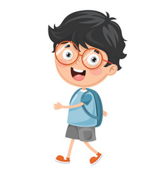 Kid going to school vector