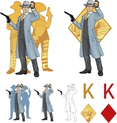 King of diamonds asian police chief and people vector image