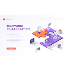 Landing page for teamwork collaboration vector