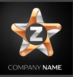 Letter z logo symbol in the colorful star on black vector