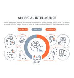 Linear banner artificial intelligence vector