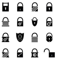 lock icon set vector image