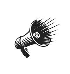 Loudspeaker symbol megaphone isolated on white vector