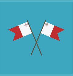 Malta flag icon in flat design vector