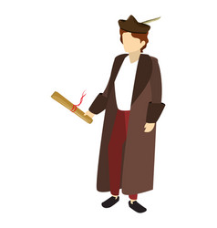 Man christopher columbus with parchment and suit vector