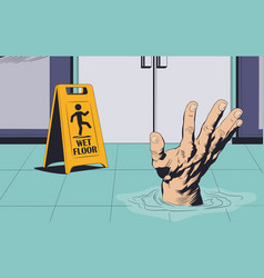 Man drowning on wet floor warning sign stock vector