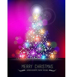 Merry christmas new year bokeh light blur pinetree vector