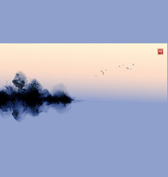 Misty island with forest trees and birds in vector