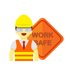 Modern employee work safe sign graphic vector