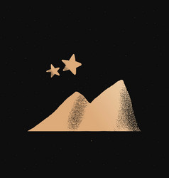 Mountain stars gold cute doodle sticker vector