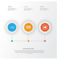 music icons set collection of frequency run song vector image