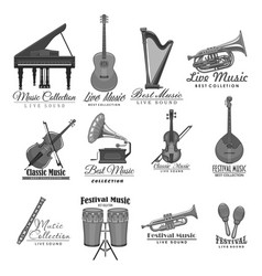 Musical instruments icons of music festival vector