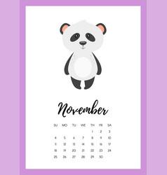 november 2018 year calendar page vector image