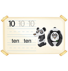 Number ten panda worksheet vector