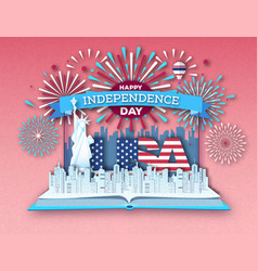 Open book with city landscape and firework vector