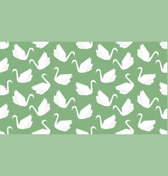 Origami crane bird seamless pattern on green vector