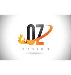 oz o z letter logo with fire flames design and vector image