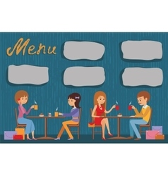 People are sitting in a cafe vector image