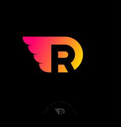 R monogram logo wing letter drop vector