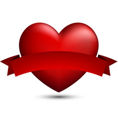 Red 3d heart with ribbon vector