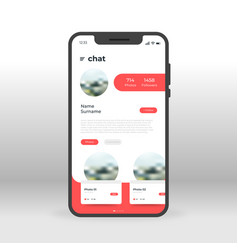 Red chat profile ui ux gui screen for mobile apps vector