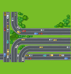 road top view with highways many different vector image