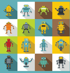 Robot icons set flat style vector
