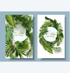 round banners with green tropical leaves vector image