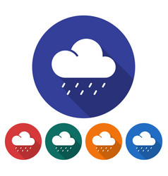 round icon of heavy rainfall flat style with long vector image