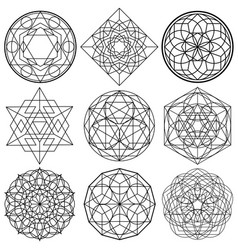 Sacred geometry symbols - set 01 vector