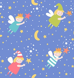 Seamless pattern with sleep fairies vector image