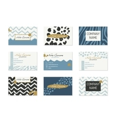 Set business cards with hand drawn elements vector