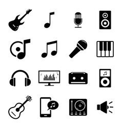 set flat icons - audio music and sound related vector image