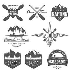 set kayak and canoe design elements vector image
