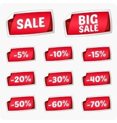 set red stickers for discount vector image