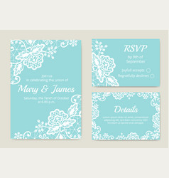 Set wedding cards vector