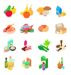 Shop navigation foods icons set isometric style vector