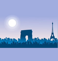 silhouette of frence city scenery vector image