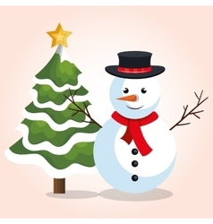 snowman with christmas tree star graphic vector image
