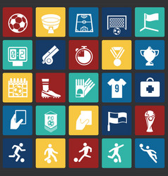 Soccer icons set on color squares background for vector