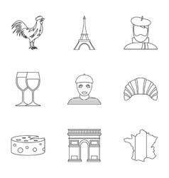 Stay in France icons set outline style vector image