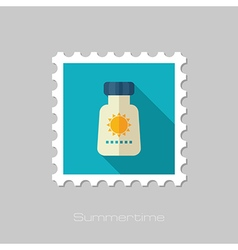 Sunscreen flat stamp Summer Vacation vector