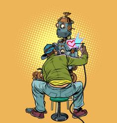 Tattoo artist fills loving robot vector
