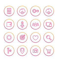Thin line web icons set basic interface elements vector